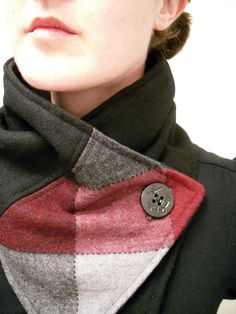 Black, Brick Red and Gray Upcycled Neckwarmer Scarf with Anchor Button