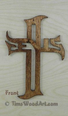 Jesus Gothic Font Cross, Baltic Birch Wood Wall Hanging or Ornament, Item J-8