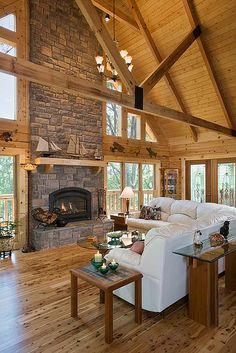 Interior, vertical, great room toward fireplace and windows, Marshall residence, Grand Vista Bay, Rockwood, Tennessee, Honest Abe Log Homes