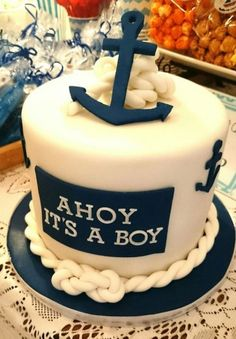 Trendy baby shower ideas for boys marinero sailor party 69 ideas Sailor Baby Showers, Navy Baby Showers, Anchor Baby Showers, Office Baby Showers, Baby Shower Cakes For Boys, Baby Shower Decorations For Boys, Boy Baby Shower Themes, Nautical Baby Shower Cakes, Babyshower Themes For Boys