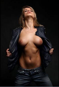Skin 'n leather 1 - Amazing model Ekaterina Enokaeva, shot at a workshop in Västerås with Joakim Karlsson. Two Of A Kind, Russian Models, Perfect Body, Hulk, Jeans, Blue Grey, Hair Color, Breast, Beautiful Women
