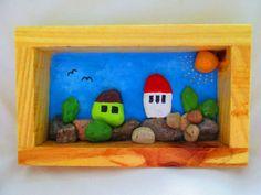 Cuadro del arte del guijarro por PlaceForYou en Etsy