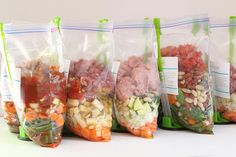 If you're looking for a way to save time and money while feeding your family healthy food, 'no-cook' freezer meals are your answer.  Simply combine the meats, vegetables, sauces and spices, and freeze!  Then, cook in your slow cooker or oven when you're ready for dinner.