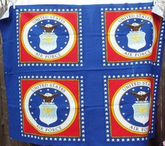 4X United States Air Force Pillow Fabric Panels 7/8 Yard Cotton Material Red White Blue New #sewing