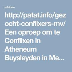 Een oproep om te Conflixen in Atheneum Buysleyden in Mechelen!