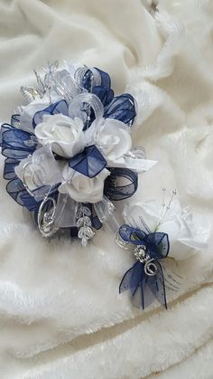 Dark royal blue navy and white prom corsage from Hen House Designs www.henhousedesigns.net