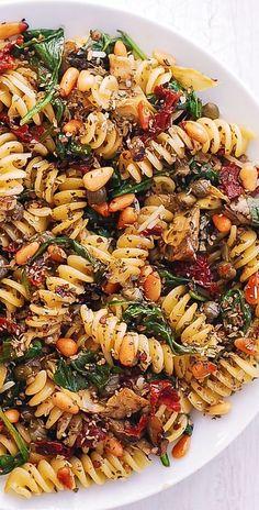 Vegetarian Pasta Dishes, Vegan Pasta, Vegetarian Recipes, Cooking Recipes, Healthy Recipes, Meatless Pasta Recipes, Light Pasta Recipes, Spinach Pasta Recipes, Spinach Artichoke Pasta