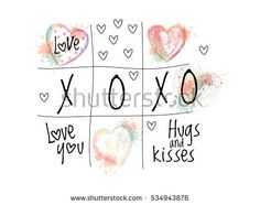 Abstract tic tac toe with vector ombre doodle hearts. Valentines day symbols
