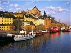 Stockholm Sweden  That red boat is the hostel I stayed at.