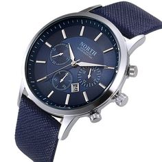 2016 NORTH Luxury Quartz Sports Wristwatch Blue Leather Strap