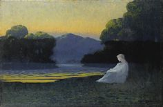 Artwork by Alphonse Osbert, IN THE EVENING'S TRANQUILITY, Made of Oil on panel