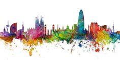 Barcelona Spain Skyline Panoramic Digital Art by Michael Tompsett