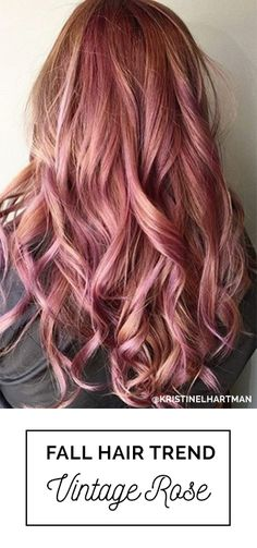 Yes! Vintage Rose Gold Hair Color For Fall 2016 - a blend of pinkish rose gold and lavender hues over pre-lightened blonde hair | Hair by: Kristine Hartman with Oway Hcolor Line | Featured in Simply Organic Beauty 2016 Fall + Winter Hair Color Trends Guide