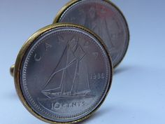 Cufflinks: Canadian silver coin set into antique gold, Bluenose Schooner, ship, marine, nautical or sailing interest by violetsparks on Etsy