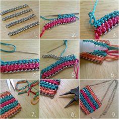metal chain + crochet jewelry DIY