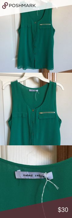 Green button down top Green, button down, zipper pocket, boutique, casual style Naked Zebra Tops Button Down Shirts