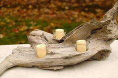 DIY+Driftwood+Candle+Holder