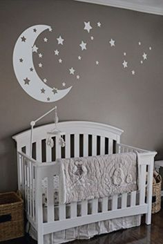 Baby room ideas for decorating the nursery walls - Moon and stars neutral baby nursery theme idea - baby boy nursery theme - love you to the moon and back! Baby Boy Nursery Themes, Baby Boy Room Decor, Star Nursery, Baby Bedroom, Baby Boy Rooms, Baby Boy Nurseries, Nursery Room, Girl Room, Nursery Ideas