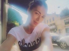 """Linda Santaguida wearing Mangano tshirt """"Westfield"""" available on our shop online"""
