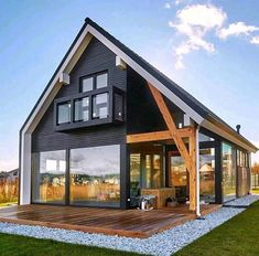 Modern Exterior, Exterior Design, Farmhouse Design, Modern Farmhouse, Farmhouse Homes, Modern Barn, A Frame House, Tiny House Plans, Cabin Homes