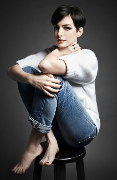 Anne Hathaway. Okay not really butch, but not femme either.