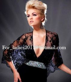 Long black evening dress with ornate lace cape sleeves   rhinestone accents  from Tony Bowls (Style  79f71ce72335