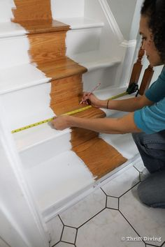 How to Install a Stair Runner - Use a pencil and tape measure to make the center of your stairs before installing rug pads and stair runner. - Thrift Diving Staircase Molding, Stairs And Staircase, Staircase Makeover, Carpet Stairs, Staircase Design, Spiral Staircases, Stair Rug Runner, Stair Rugs, Stair Runners