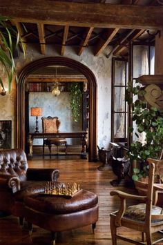 wood, stone and plants <3  The interior of Gerard Butlers New York apartment is Elvis Restaino and architecture by Alexander Gorlin