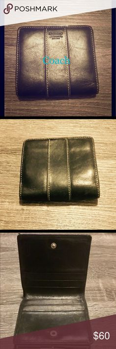 Coach Vintage Black Leather Kiss Clasp Wallet Coach's awesome vintage, black, leather kiss clasp wallet! Some wear (due to age), but truly a unique item to own or gift! In GREAT condition! Keep, use, collect gift! 60 OBO Please feel free to check out my other items and I offer bundle pricing! #Discount #Bundle #Cheap #Gift #Deal #Gift #Kotas Coach Accessories Key & Card Holders