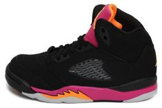 Nike Air Jordan 5 Retro (PS) Girls Basketball Shoes 440893-067 Black 11 M US. 11 M US Little Kid. Color: Black/Bright Citrus/Fusion Pink. Inspired by Michael Jordan's continued flight status and a WWII fighter plane the Air Jordan V was another custom Tinker Hatfield tinkered to perfection. OUTSOLE: Rubber with traction pattern. Additionally, a plastic lace-lock, leather upper and side vents converge to form a fighter like shoe ready for takeoff. UPPER: Full-grain leather and Durabuk.
