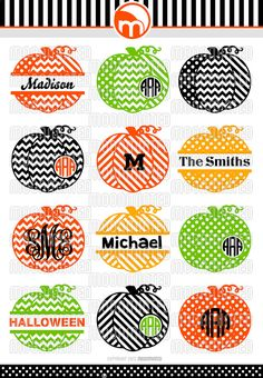 Fall Patterned Pumpkins SVG Cut Files Monogram by MoonMinted