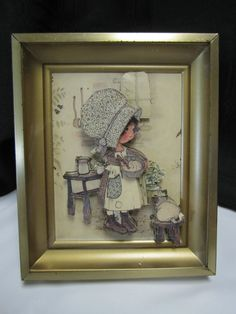 Vintage Holly Hobbie & Cat In The Kitchen 3D Picture Gold Frame Retro Girls Room