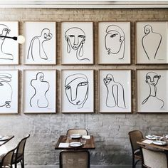 wall of line drawings - nude women and men. Not for a restaurant but for a home or an event or an interior canvas wall where they're not so organized and mixed up with some less abstract more emotion driven images Artist Problems, Art Abstrait, Painting Techniques, Painting Tips, Oeuvre D'art, Line Art, Art Drawings, Wall Drawing, Illustration Art