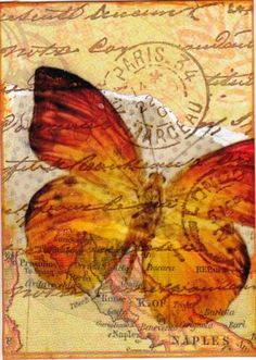 Beautiful Butterfly  ATC with postage cancellation, really nice1