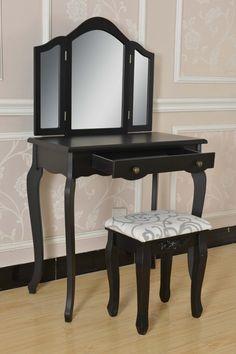 SEN206 - Set negru masa de toaleta cu oglinda si taburet - http://www.emobili.ro/cumpara/sen206-set-masa-toaleta-negru-oglinda-tripla-scaun-cosmetica-machiaj-335 #eMobili