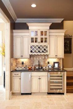 Wet bar: wine fridge and ice machine a must for entertaining. **Idea for bar drink area in kitchen Basement Kitchen, New Kitchen, Kitchen Small, Kitchen Bars, Rustic Basement, Modern Basement, Kitchen Pantry, Kitchen Sink, Kitchen Ideas