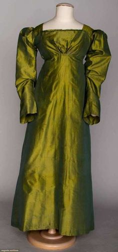 Green silk dress, ca. 1815.