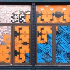 Art window in blue & orange, Dumbo, Brooklyn, NYC.