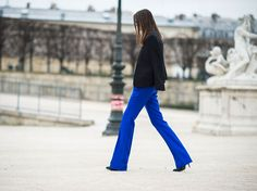 cobalt blue is allways in   pfw street style fall 2013 runway