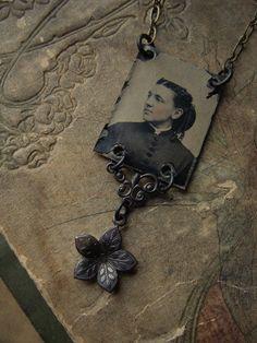 Zella - Antique Gem Tintype Necklace by luminoddities
