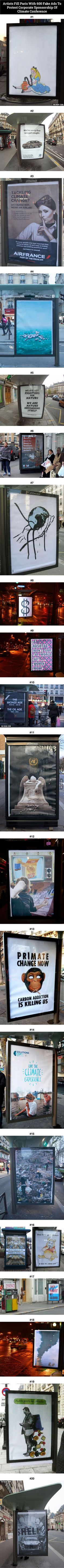 Artists Fill Paris With 600 Fake Ads To Protest Corporate Sponsorship Of Climate Conference - 9GAG