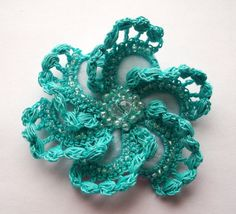 Turquoise crochet brooch turquoise handmade by SuzieSue1972