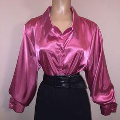 "1X LIQUID SATIN Shiny ROSY PINK Blouse Vtg Shirt Top 48"" Bust Plus Size 16W XL    eBay"
