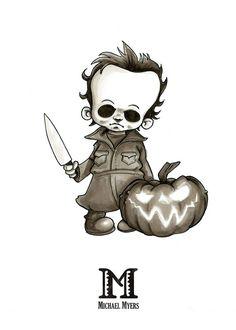 Scary Halloween Drawings, Creepy Drawings, Dark Art Drawings, Halloween Cartoons, Art Drawings Sketches, Disney Drawings, Cartoon Drawings, Cartoon Character Tattoos, Cartoon Tattoos
