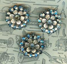 Beautiful Victorian Metal and Blue Glass Buttons.