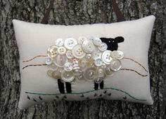 Primitive Ireland Sheep Embroidery Pillow