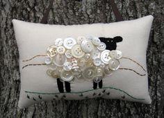 Primitive Ireland Sheep Embroidery Pillow
