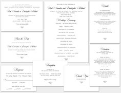 Wedding Invitations Annalise - Black and White Wedding Invitations, Luxury Wedding Invitations, Flowing Script INCLUDES PRINTING & ENVELOPES