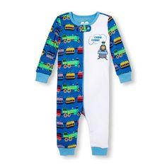 Baby And Toddler Boys Long Sleeve 'Choo Choo!' Train Split Print Stretchie
