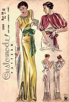 30s bolero jacket dress gown red yellow green white evening formal The jacket... J'ADORE. <3 Customode pattern 8169, ca. 1935, Misses' evening dress and jacket. ~ Never seen a Customode pattern before!